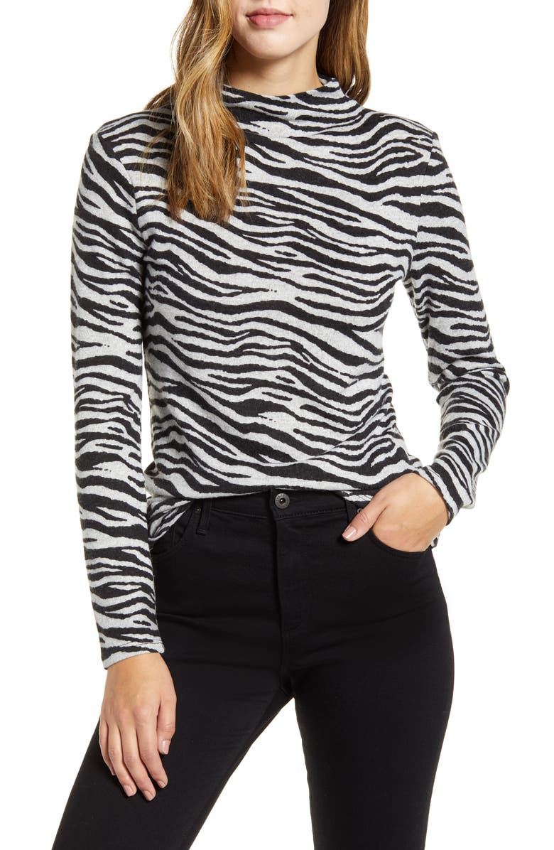 BEACHLUNCHLOUNGE Animal Print Hacci Knit Top, Main, color, SLATE ZEBRA