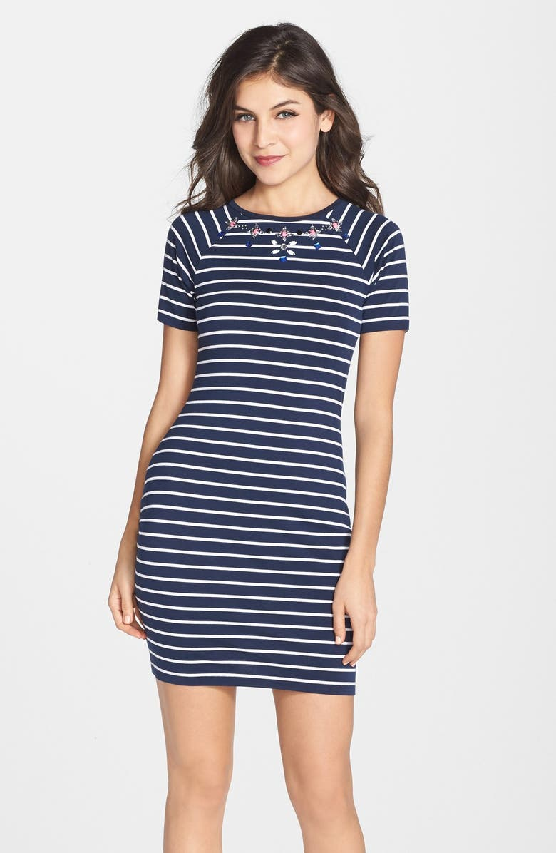 FRENCH CONNECTION Embellished Stripe Body-Con Dress, Main, color, 475