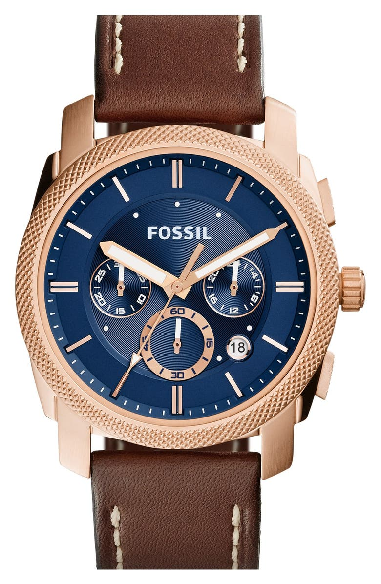 FOSSIL 'Machine' Chronograph Textured Bezel Watch, 42mm, Main, color, 200