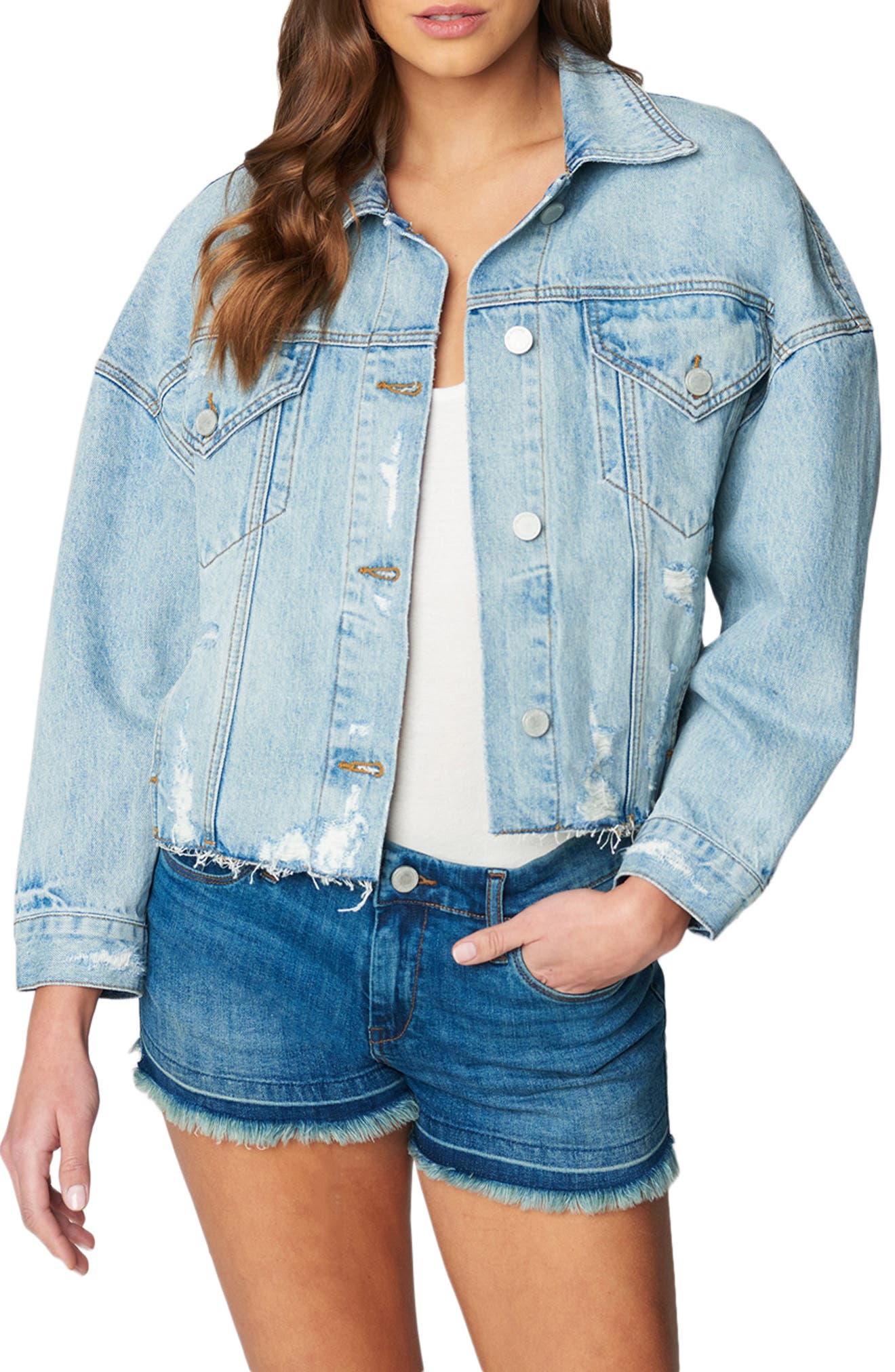 Women's Blanknyc Distressed Nonstretch Denim Trucker Jacket, Size Medium - Blue