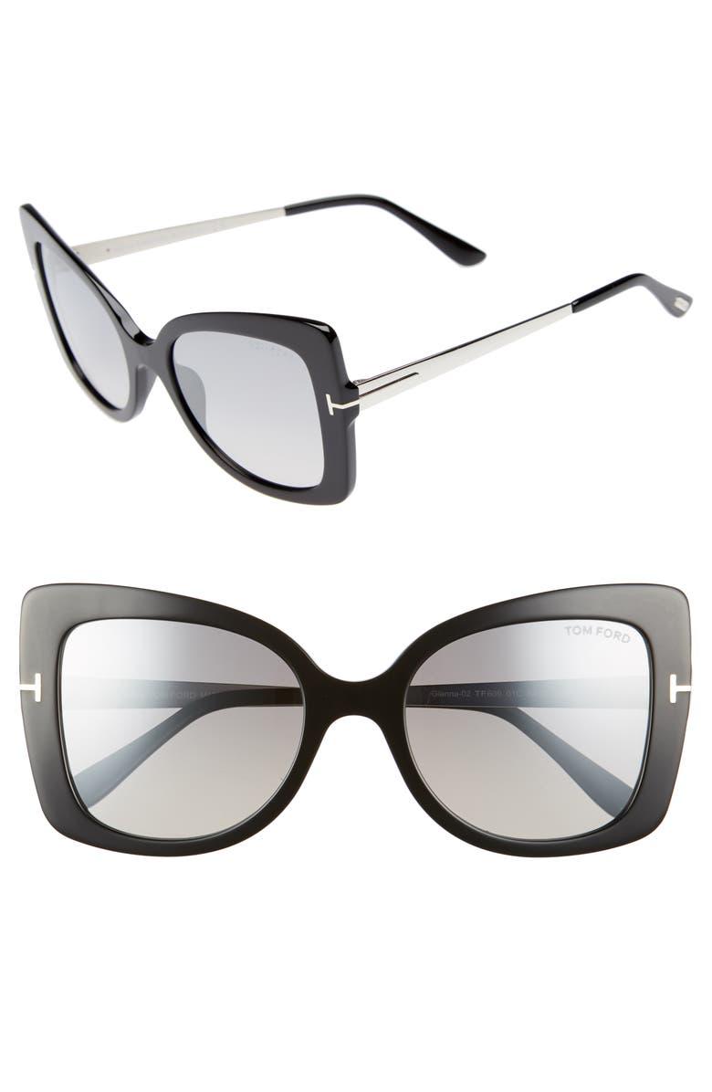 TOM FORD Gianna 54mm Sunglasses, Main, color, SHINY BLACK/ SMOKE MIRROR