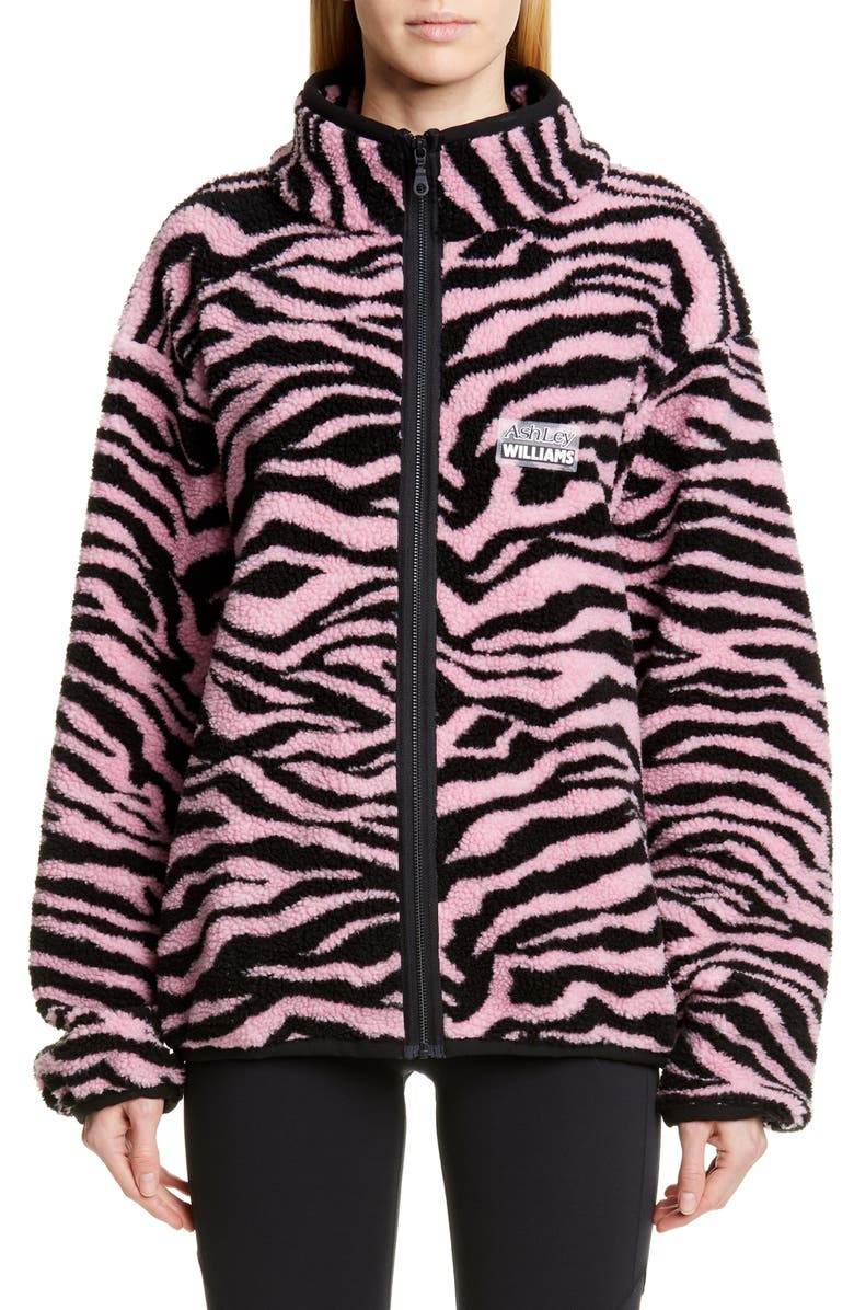 ASHLEY WILLIAMS Juju Tiger Print Fleece Jacket, Main, color, 650