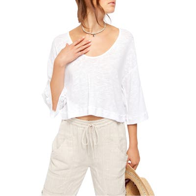 Free People Fresh Start Linen & Cotton Tee, White