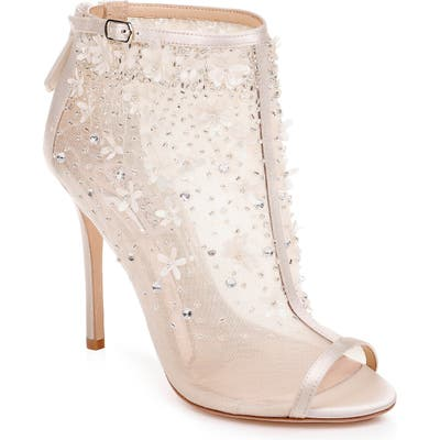 Badgley Mischka Isadora Open Toe Bootie- Ivory