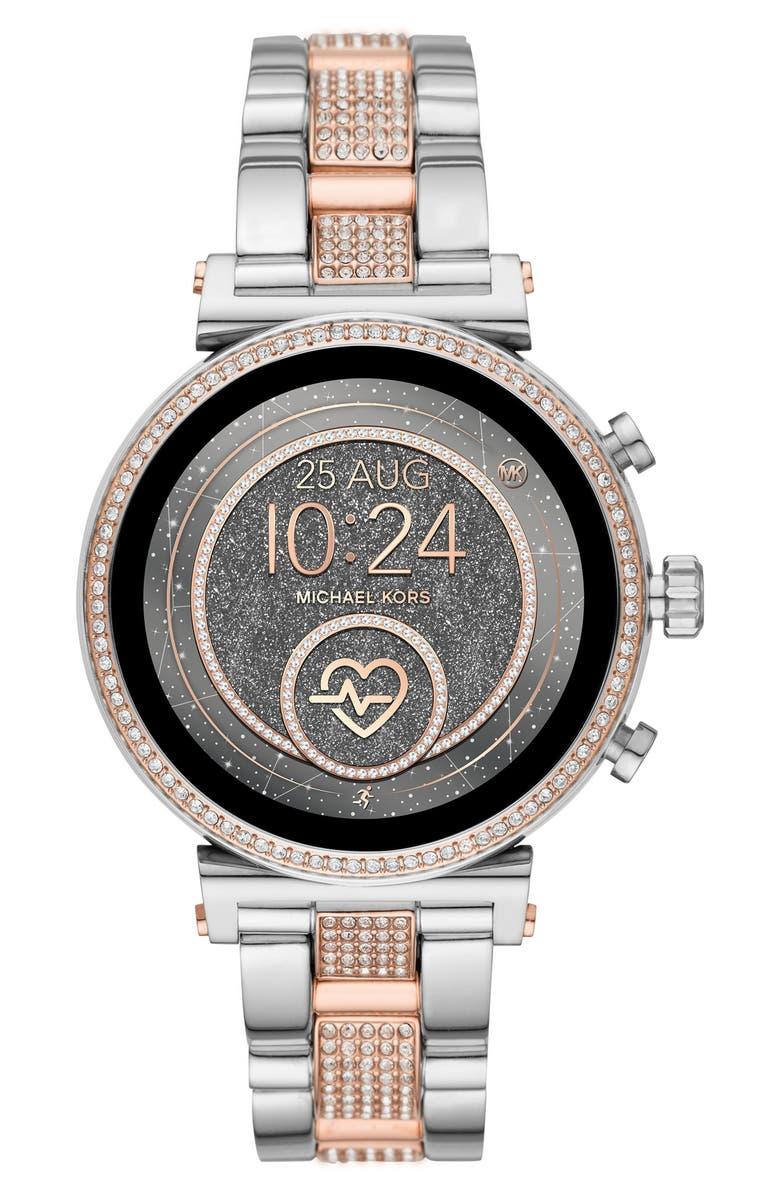 MICHAEL MICHAEL KORS Sofie Bracelet Smart Watch, 51mm, Main, color, SILVER/ ROSE GOLD