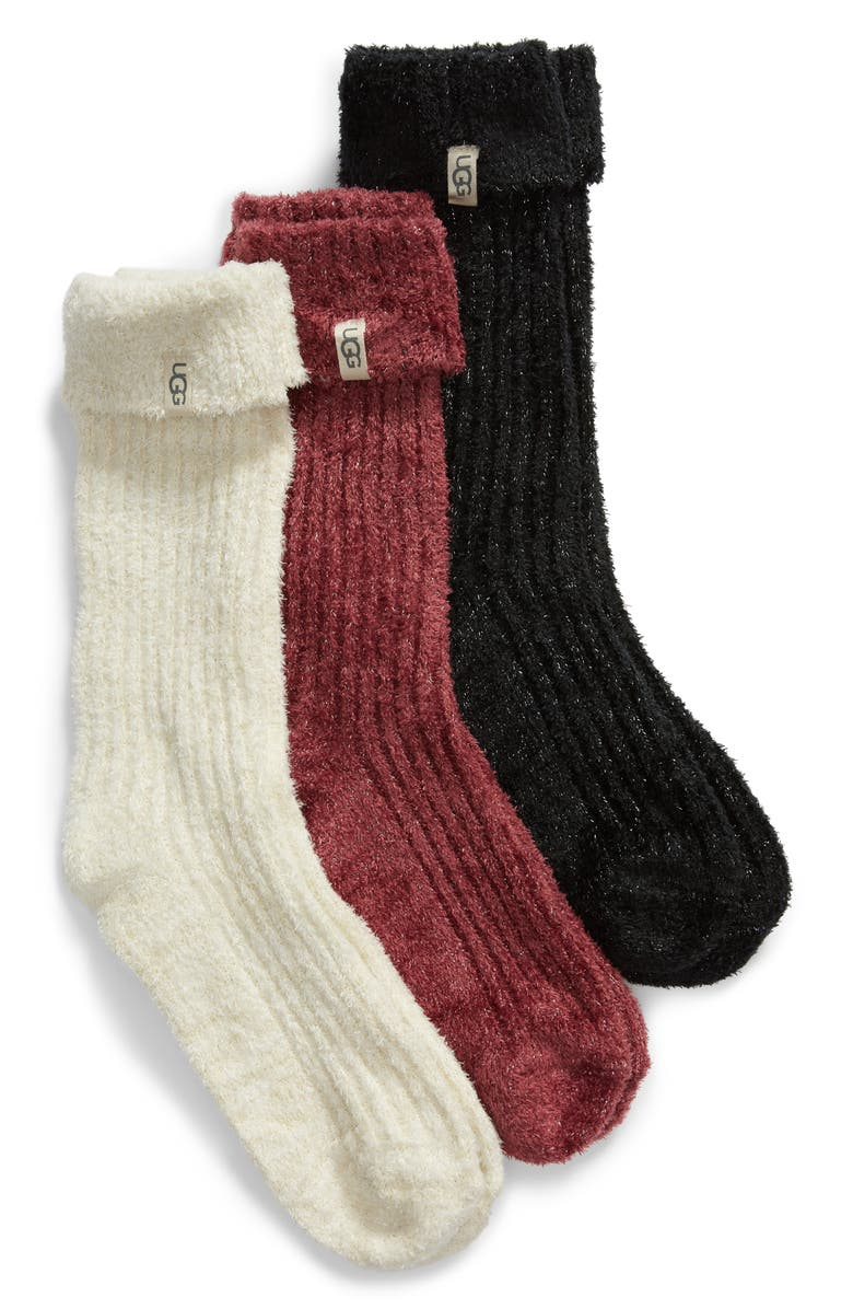 UGG<SUP>®</SUP> 3-Pack Cozy Sparkle Socks, Main, color, 105