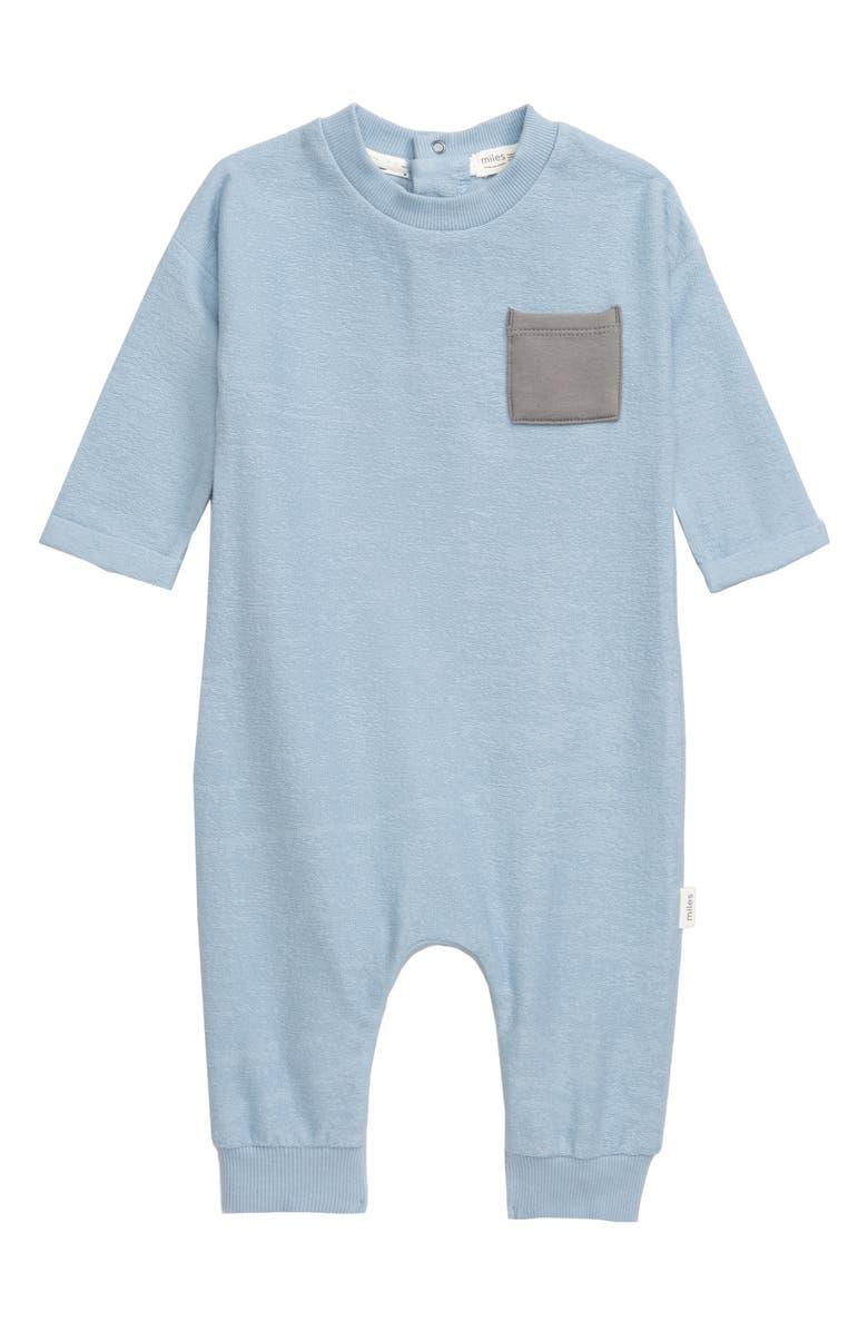 MILES BABY Pocket Romper, Main, color, 601 LIGHT BLUE