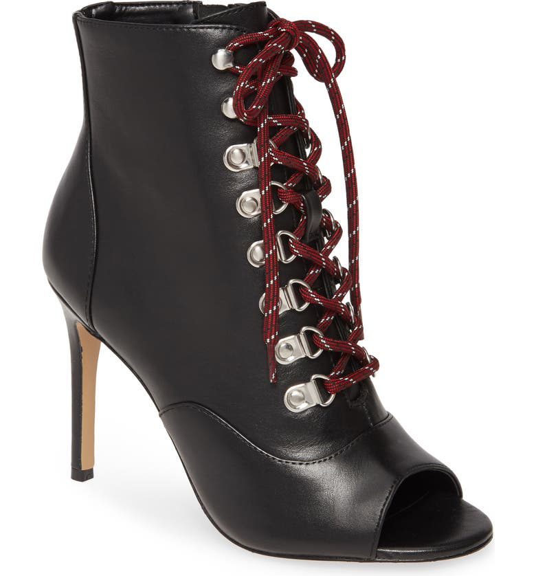 CHARLES DAVID Charlye Lace-Up Peep Toe Bootie, Main, color, BLACK LEATHER