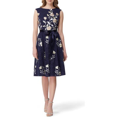 Petite Tahari Embroidered Fit & Flare Lace Dress, Blue