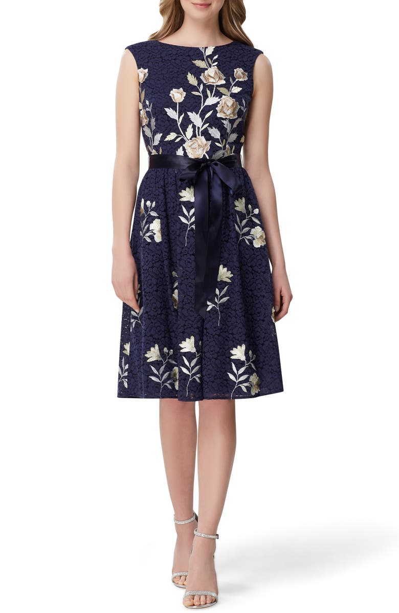 TAHARI Embroidered Fit & Flare Lace Dress, Main, color, 419