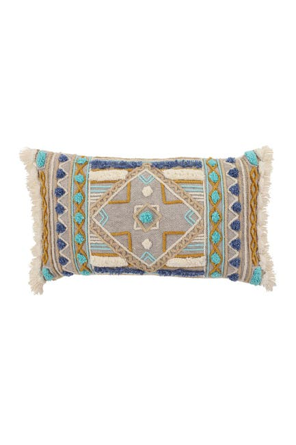 "Image of Willow Row Boho Pattern & Fringe Rectangular Throw Pillow - Grey - 24"" x 5.5"" x 14"""