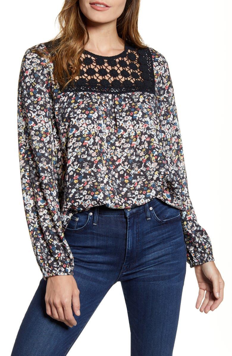 CASLON<SUP>®</SUP> Crochet Yoke Floral Top, Main, color, BLACK MULTI FOLKY FLORAL PRINT