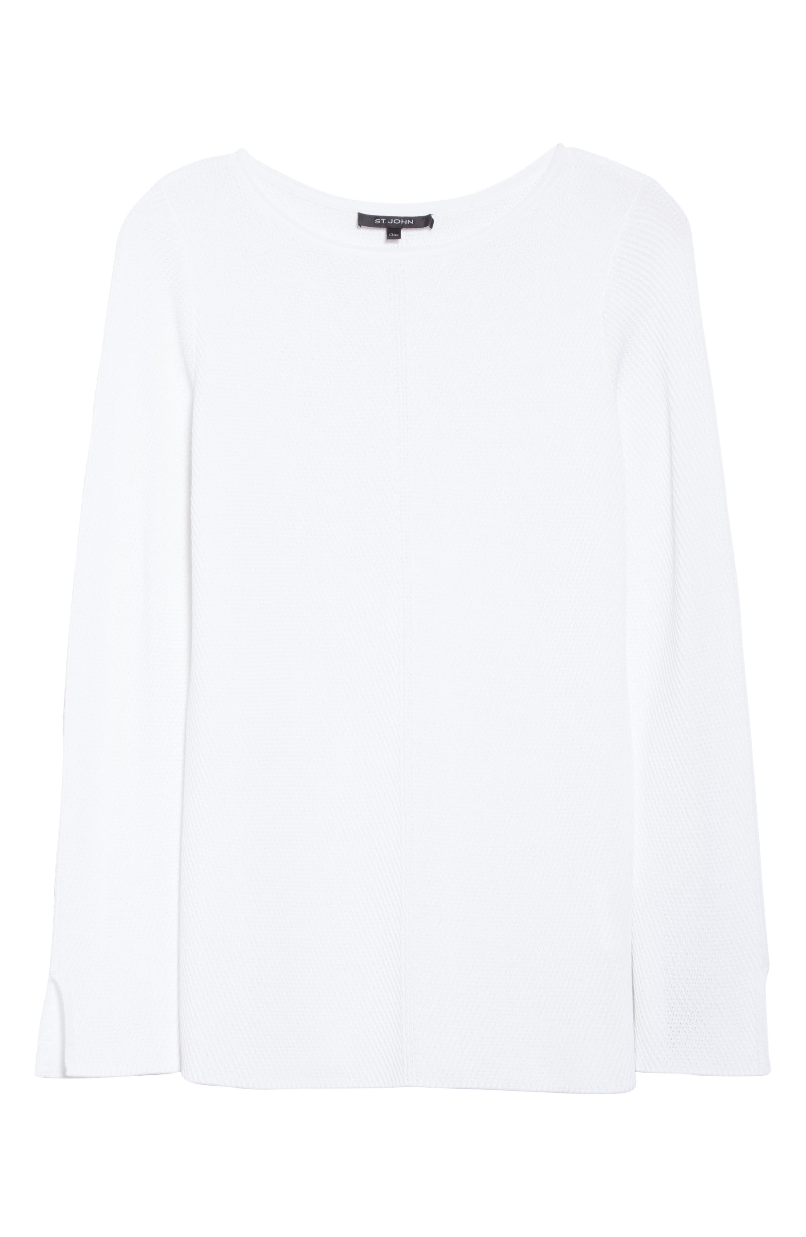 ,                             Chevron Rib Sweater,                             Alternate thumbnail 6, color,                             WHITE