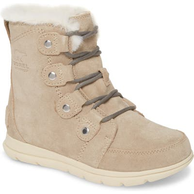 Sorel Explorer Joan Waterproof Boot With Faux Fur Collar- Beige