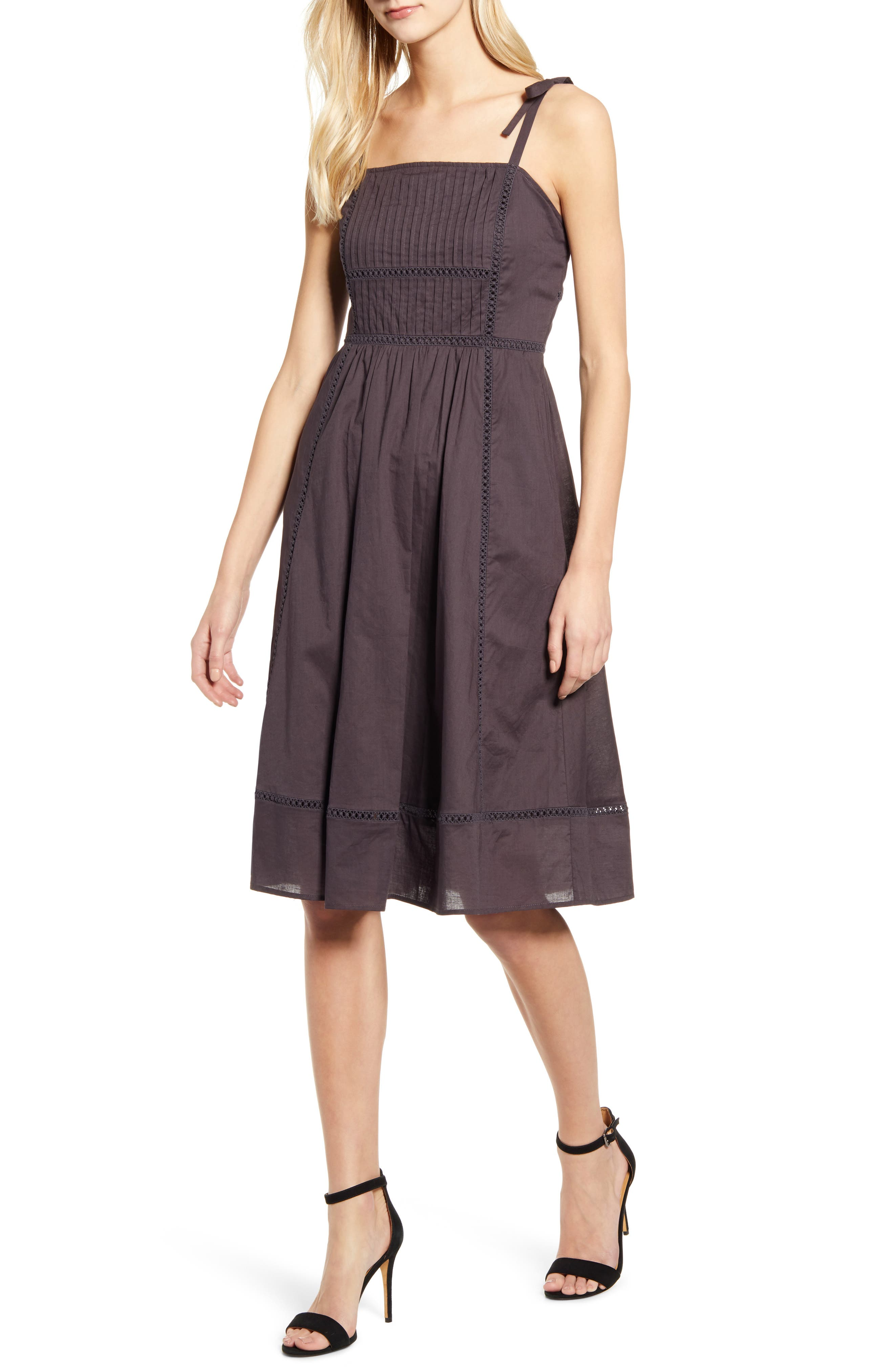 Anne Klein Embroidered Fit & Flare Dress, Grey