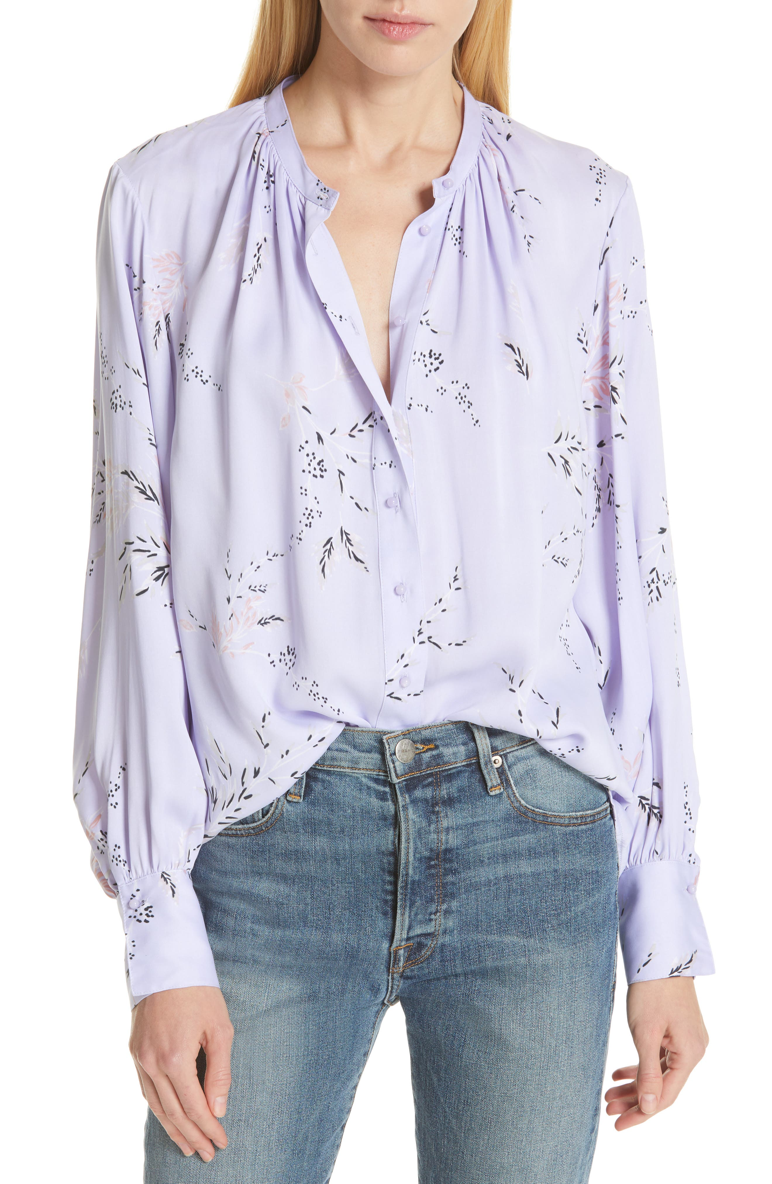Causette Silk Blend Shirt, Main, color, LAVENDER MULTI