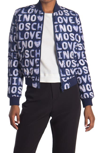 Image of LOVE Moschino Giubbino Bomber With All Over Logo
