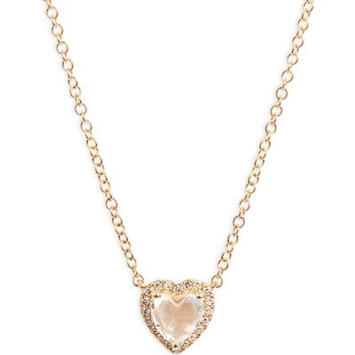 Ef Collection Diamond & Topaz Heart Pendant Necklace