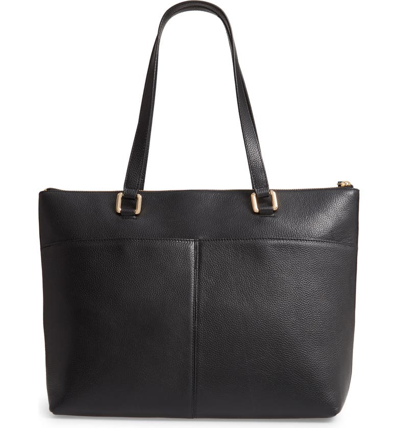 NORDSTROM Lexa Pebbled Leather Tote, Main, color, BLACK