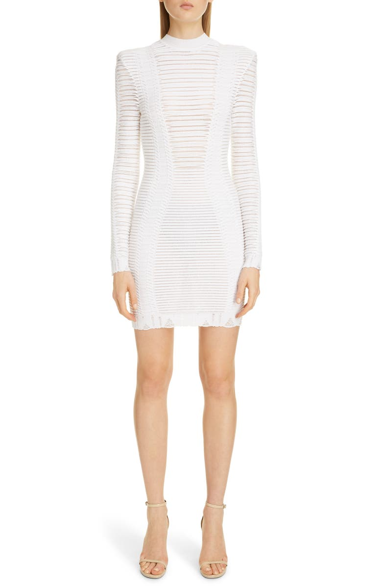 BALMAIN Sheer Stripe Long Sleeve Sweater Minidress, Main, color, BLANC