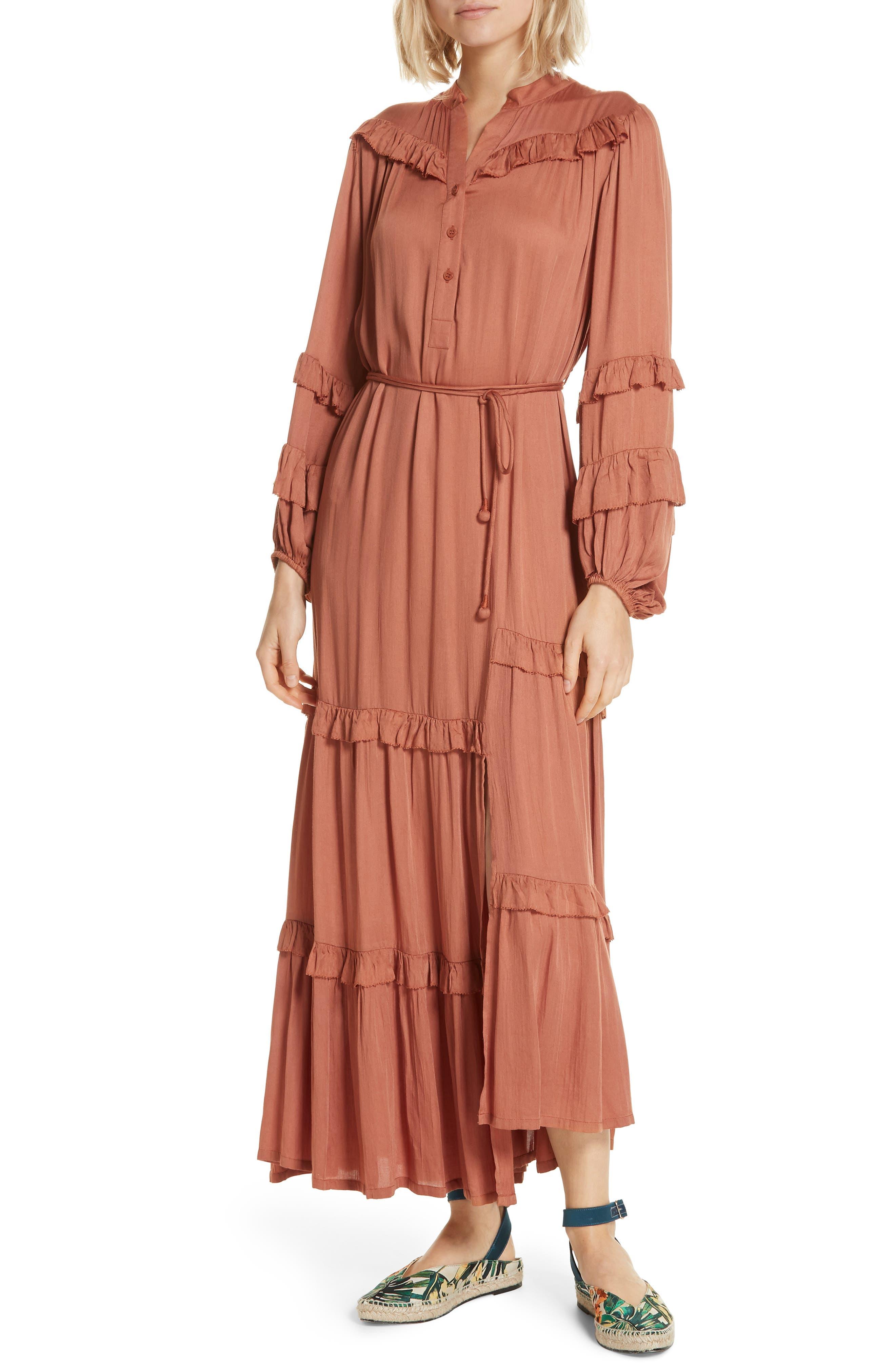 Apiece Apart Gracia Flamenca Maxi Dress, Orange