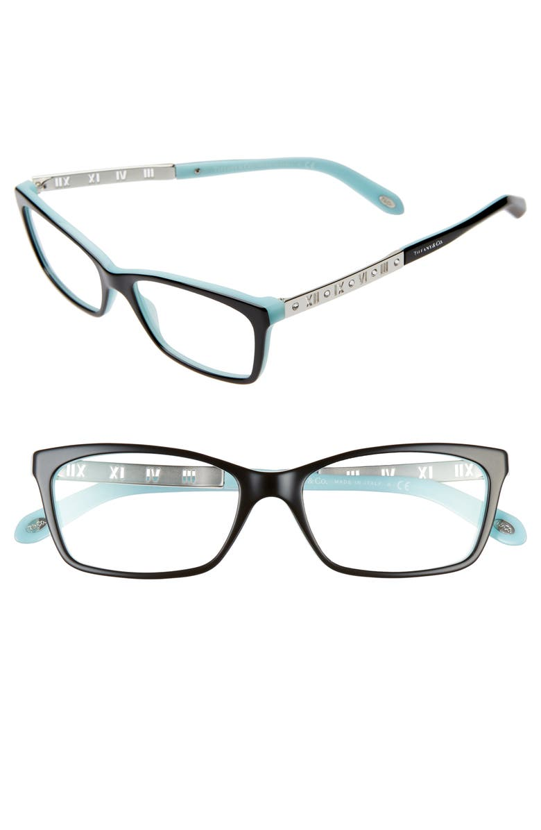 TIFFANY & CO. 53mm Optical Glasses, Main, color, BLACK/ PATTERN/ BLUE