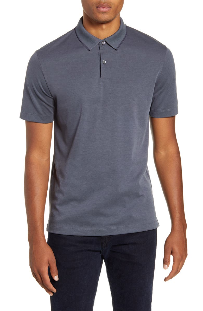 THEORY Tipped Solid Polo, Main, color, REEF/ DARK REEF