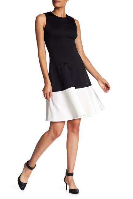 Image of Calvin Klein Colorblock Scuba Fit & Flare Dress