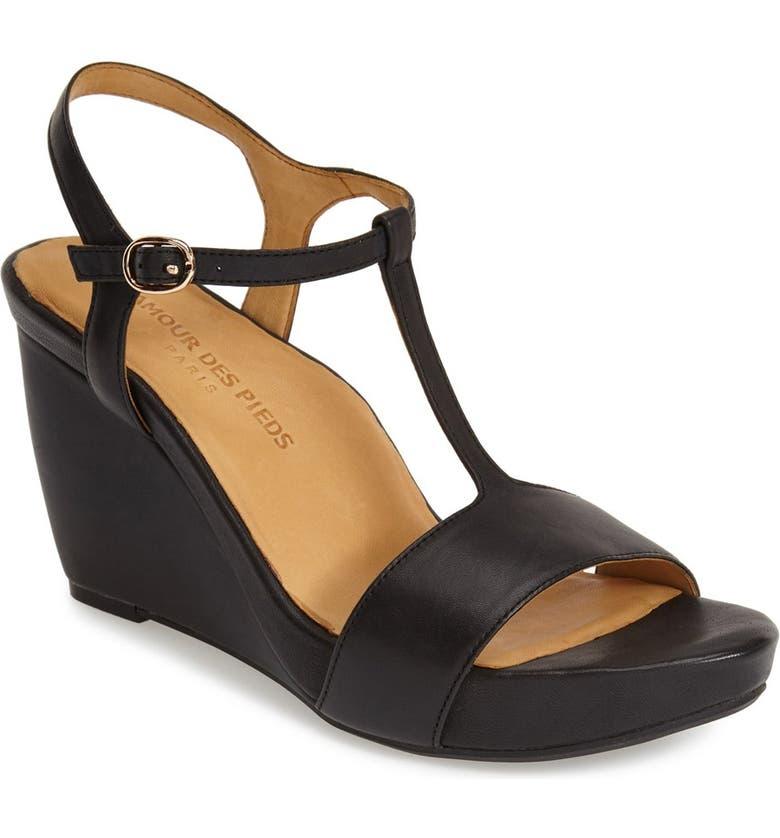 L'AMOUR DES PIEDS 'Idelle' Platform Wedge Sandal, Main, color, BLACK NAPPA
