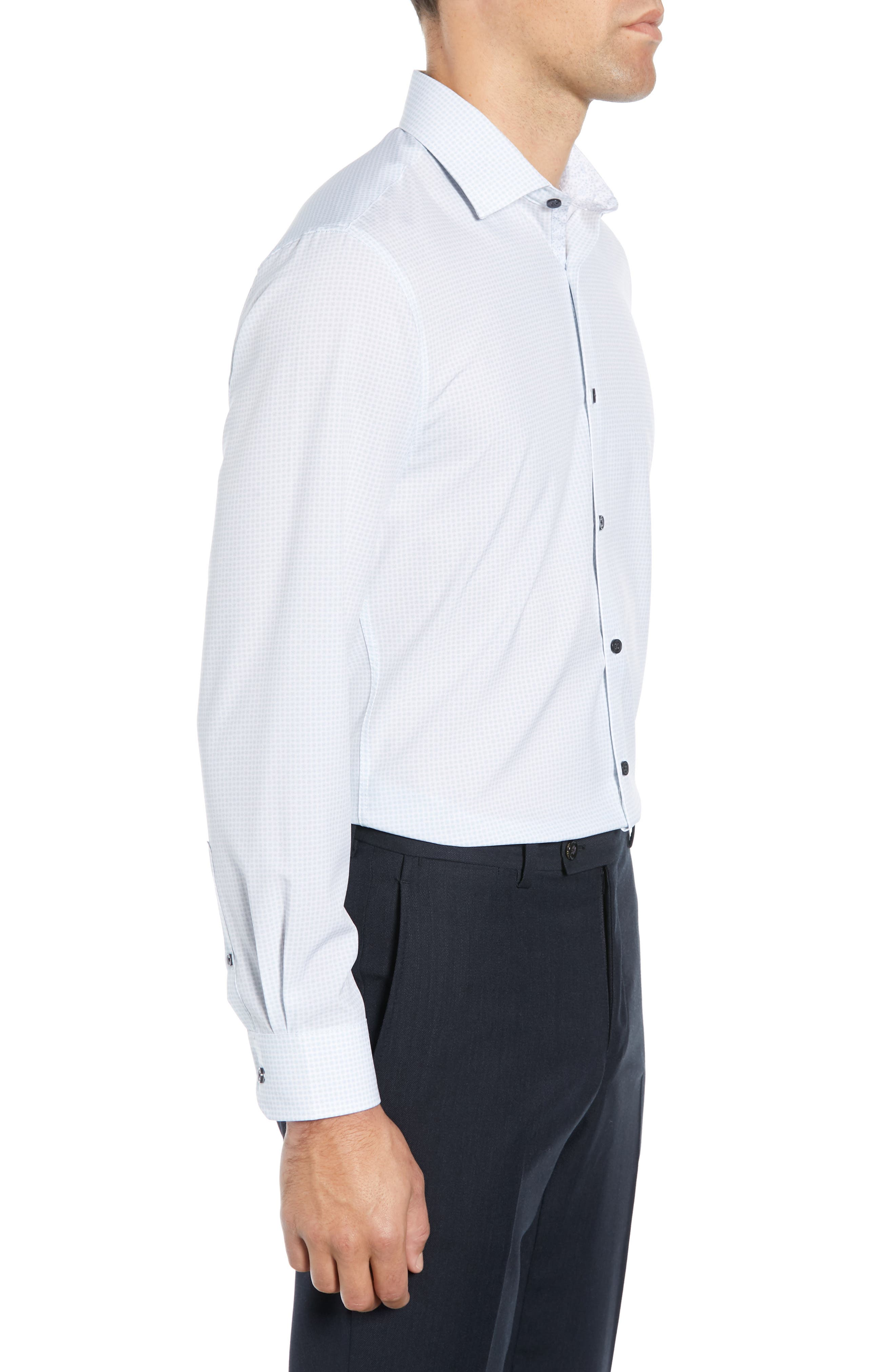 ,                             Slim Fit Performance Stretch Check Dress Shirt,                             Alternate thumbnail 4, color,                             GREY