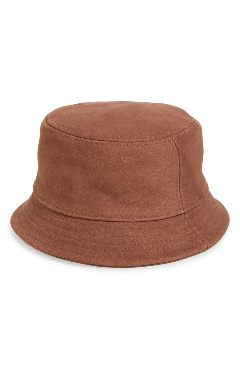 TREASURE & BOND Leather Bucket Hat, Main, color, BROWN