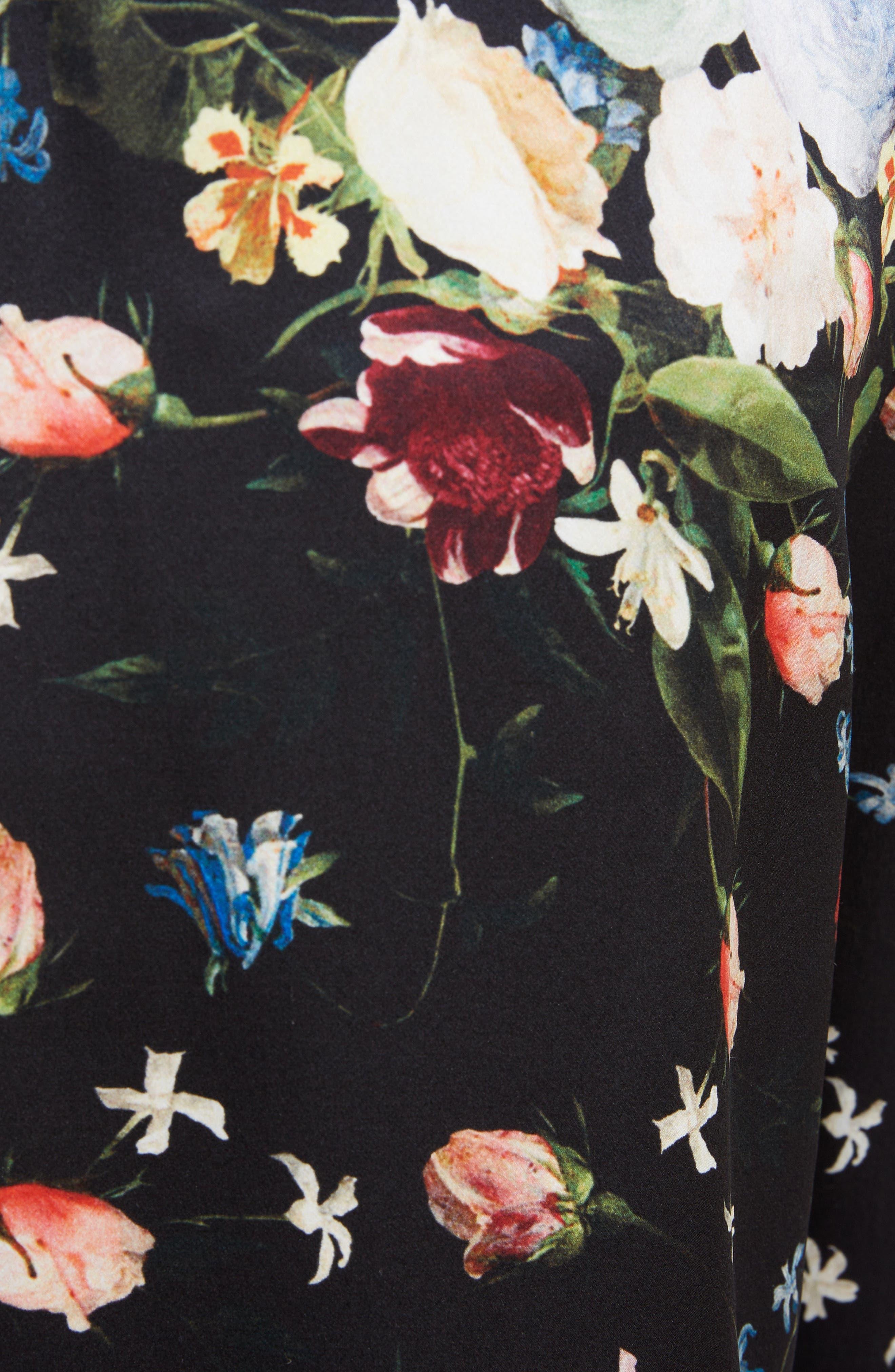 ,                             Floral Silk Satin Pleated Pants,                             Alternate thumbnail 5, color,                             BLACK/ MULTI
