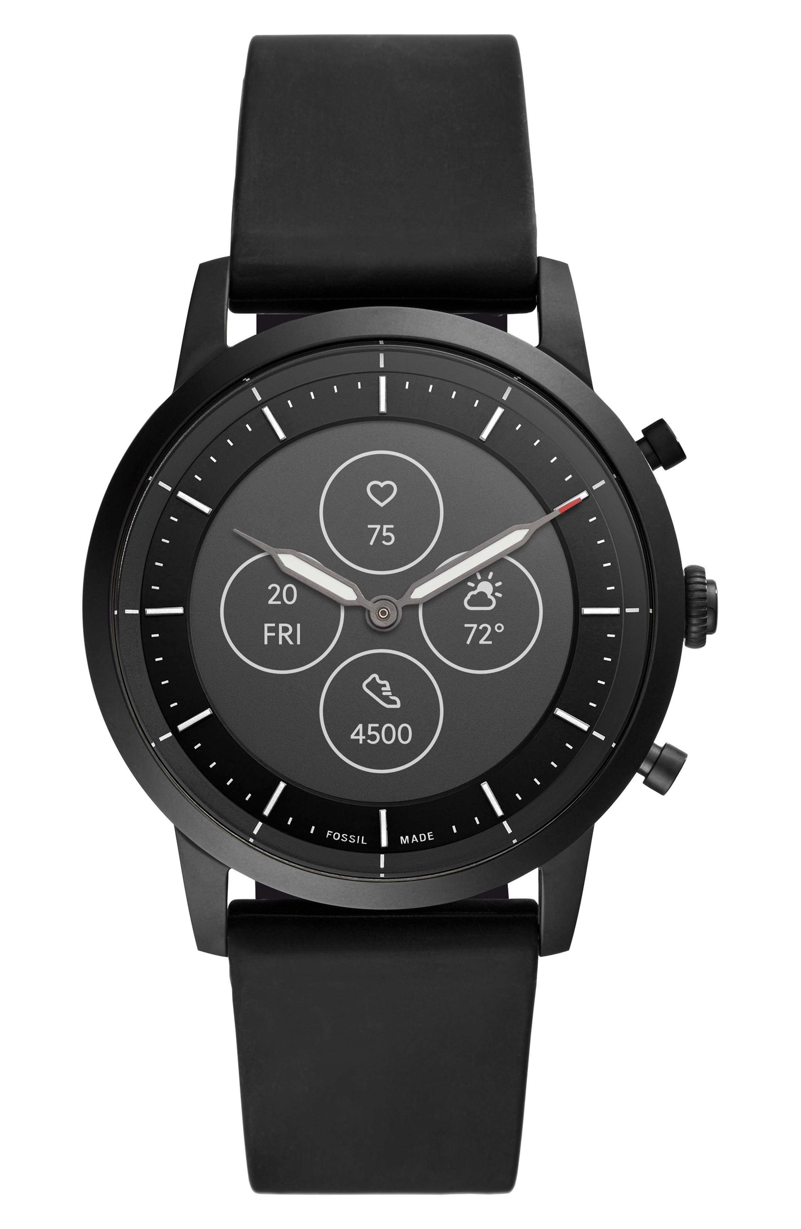 Collider Hybrid Hr Chronograph Silicone Strap Smart Watch