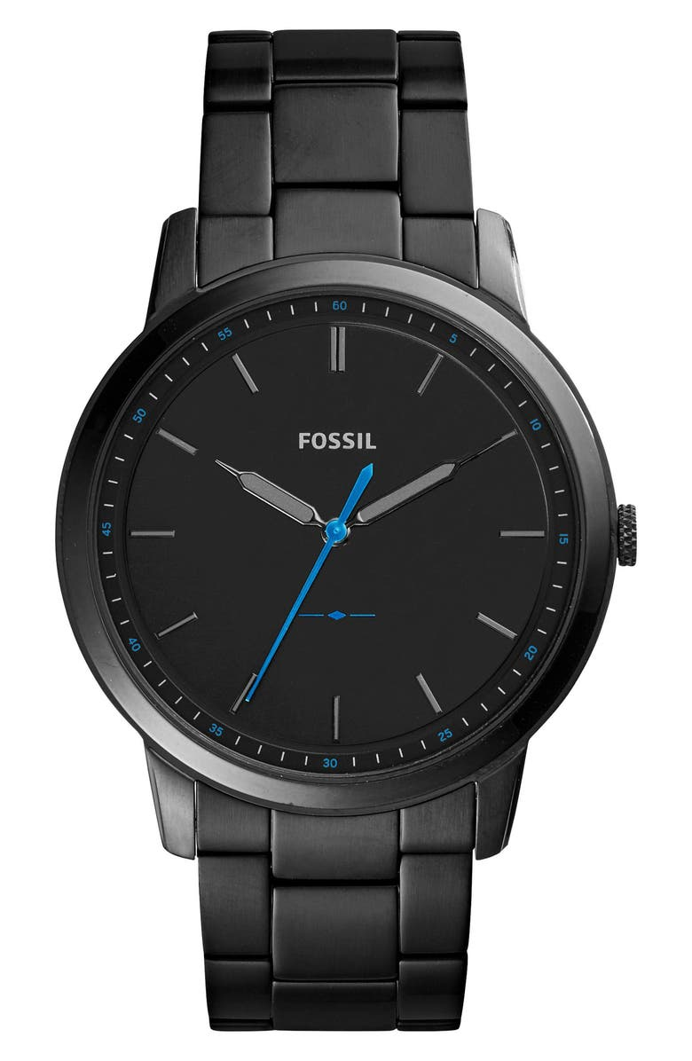 FOSSIL Minimalist Bracelet Watch, 44mm, Main, color, BLACK/ BLUE