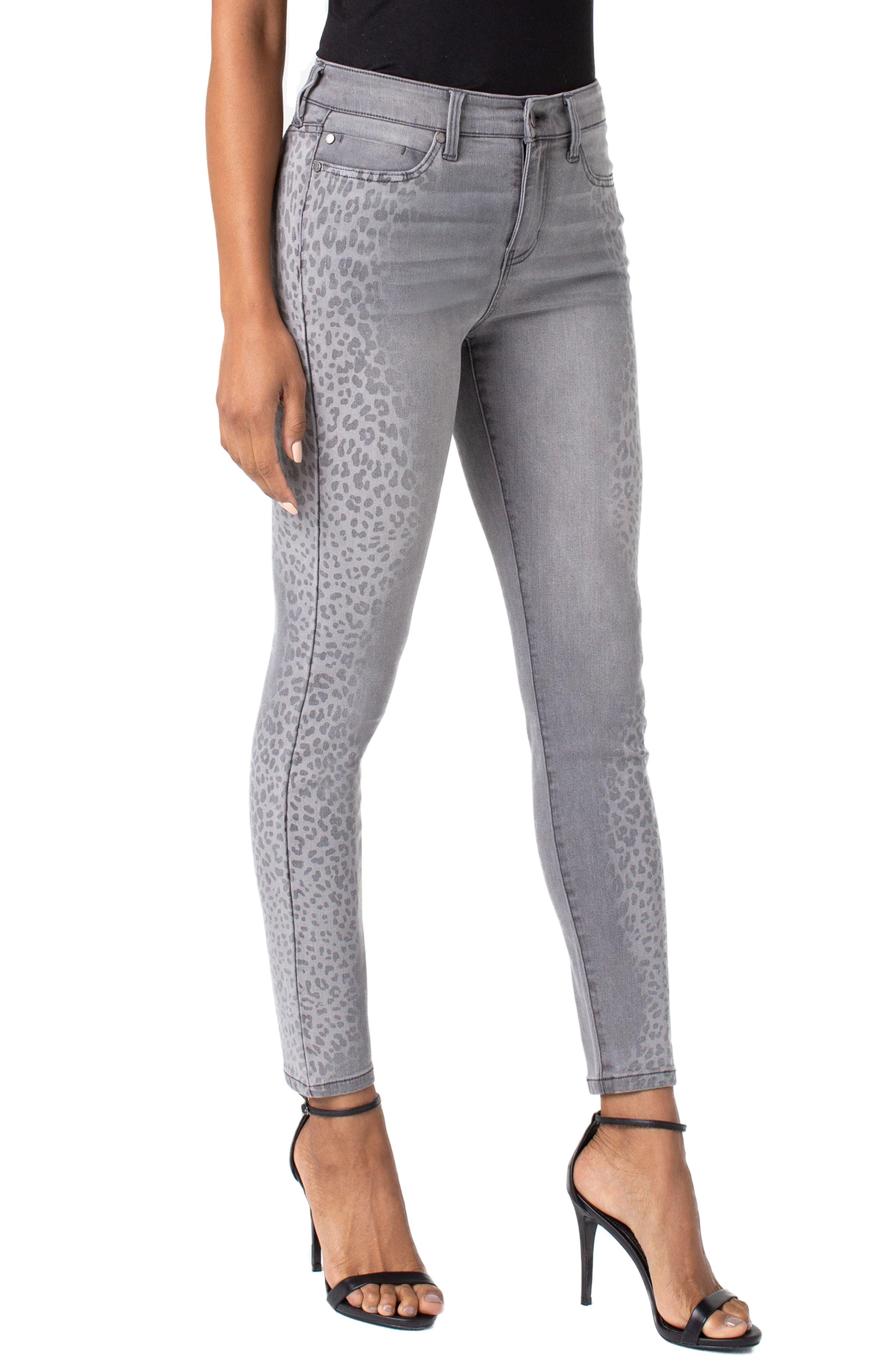 ,                             Abby Side Cheetah Print Ankle Skinny Jeans,                             Alternate thumbnail 3, color,                             ALUMINUM