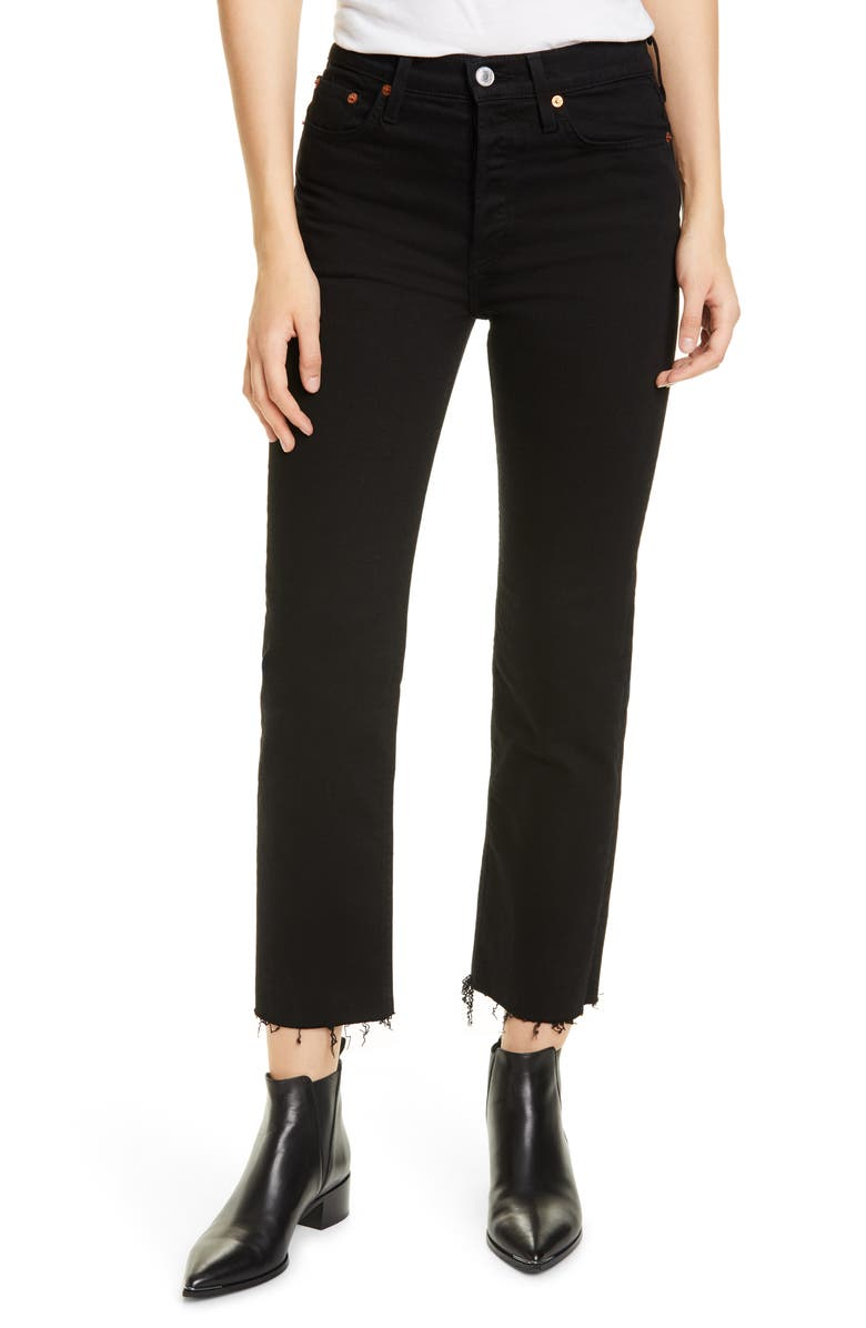 RE/DONE Originals High Waist Stovepipe Jeans, Main, color, JET BLACK