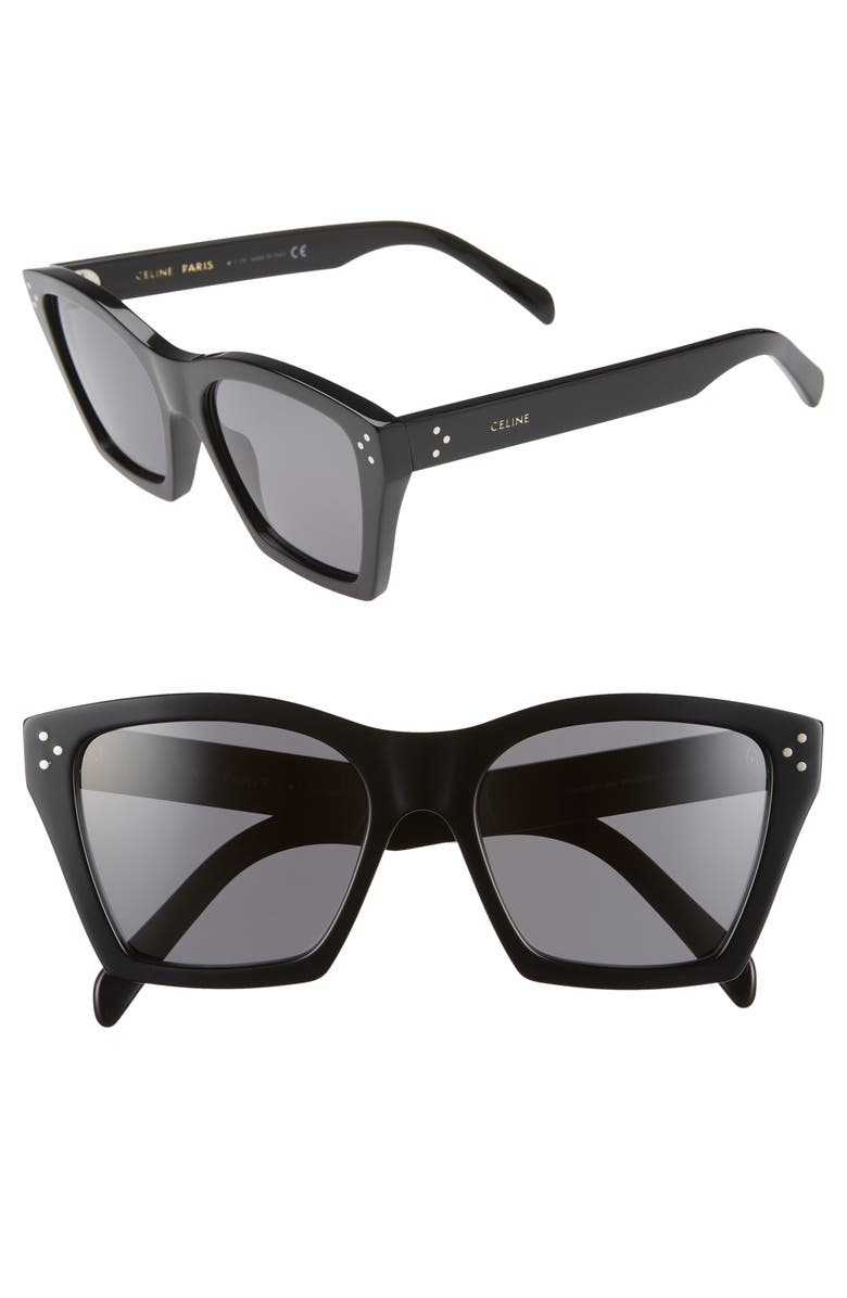 CELINE 55mm Cat Eye Sunglasses, Main, color, SHINY BLACK/ SMOKE