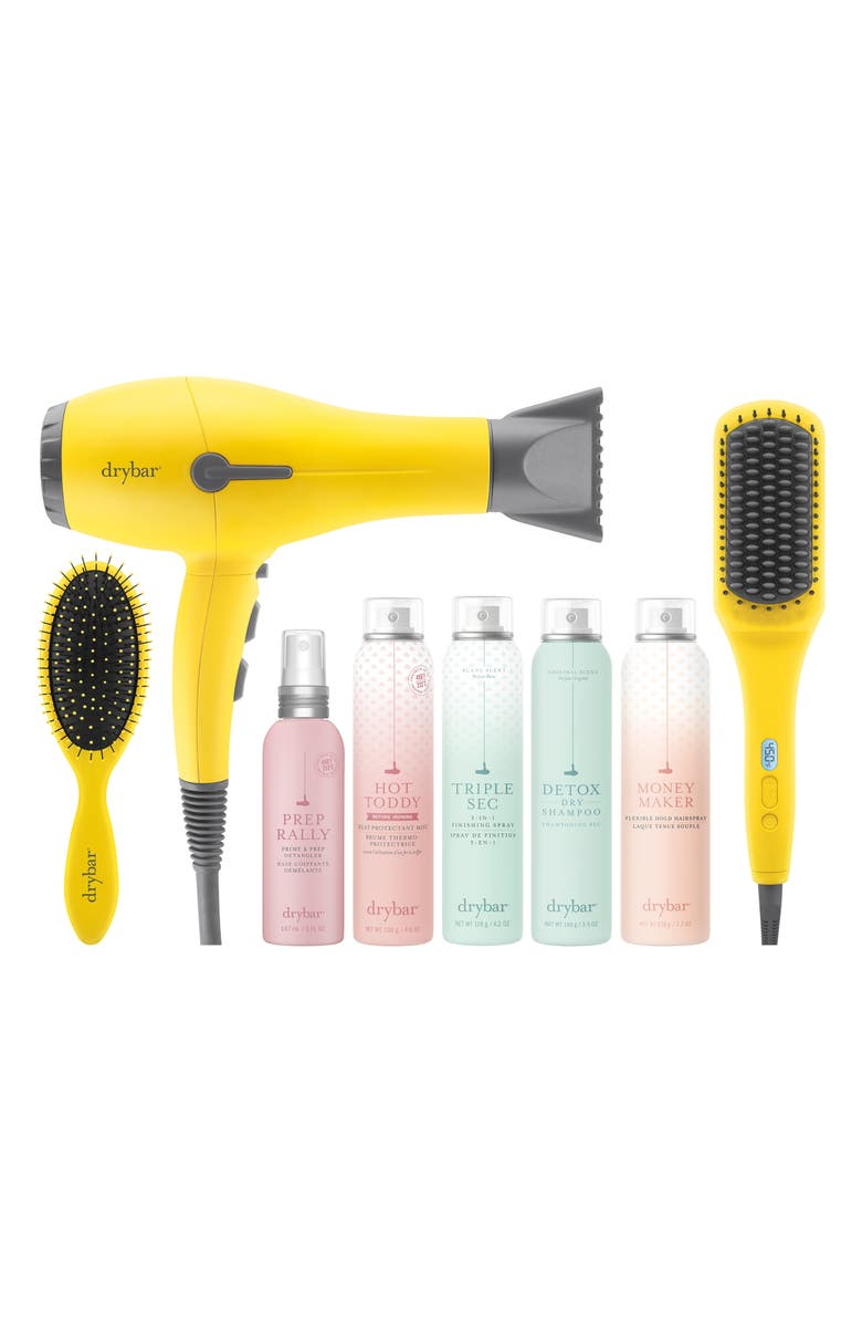DRYBAR The Smooth Hair Crew The Brush Crush Heated Straightening Brush Deluxe Set, Main, color, NO COLOR