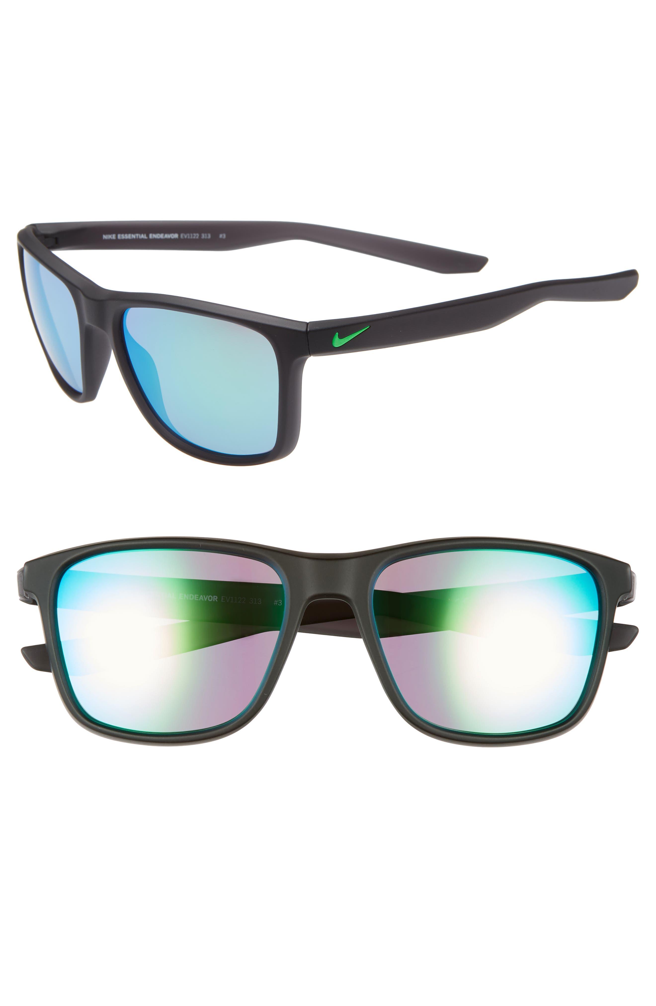 Nike Essential Endeavor 57Mm Square Sunglasses - Grey/ Dark Teal