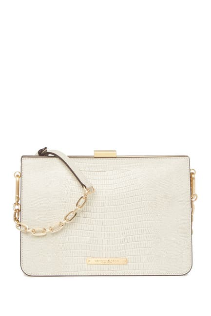 Image of Donna Karan Tate Lizard Embossed Leather Clutch