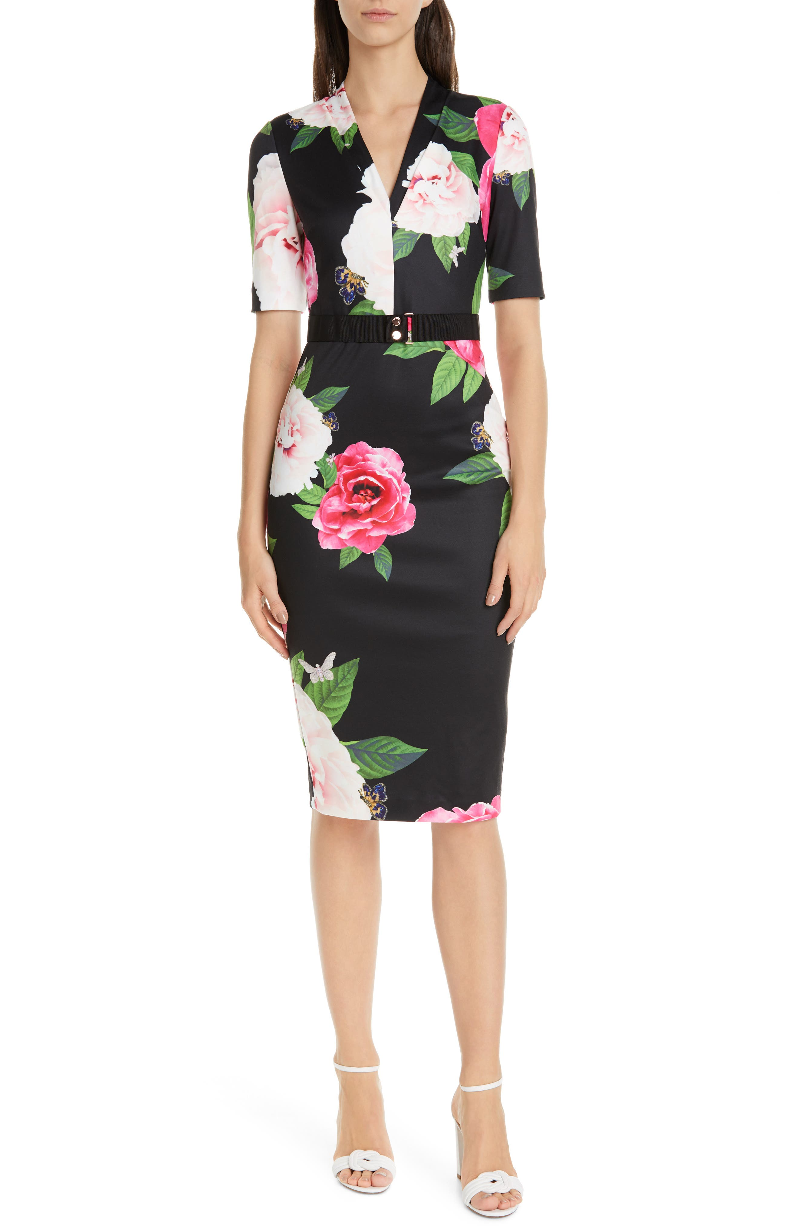 Ted Baker London Gilanno Magnificent Body-Con Dress, Black