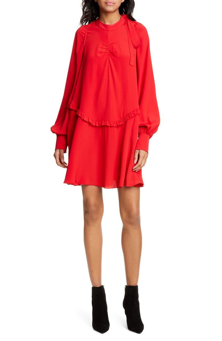 157bb4e33907 Nº21 Tie Neck Ruffle Minidress, Main, color, RED