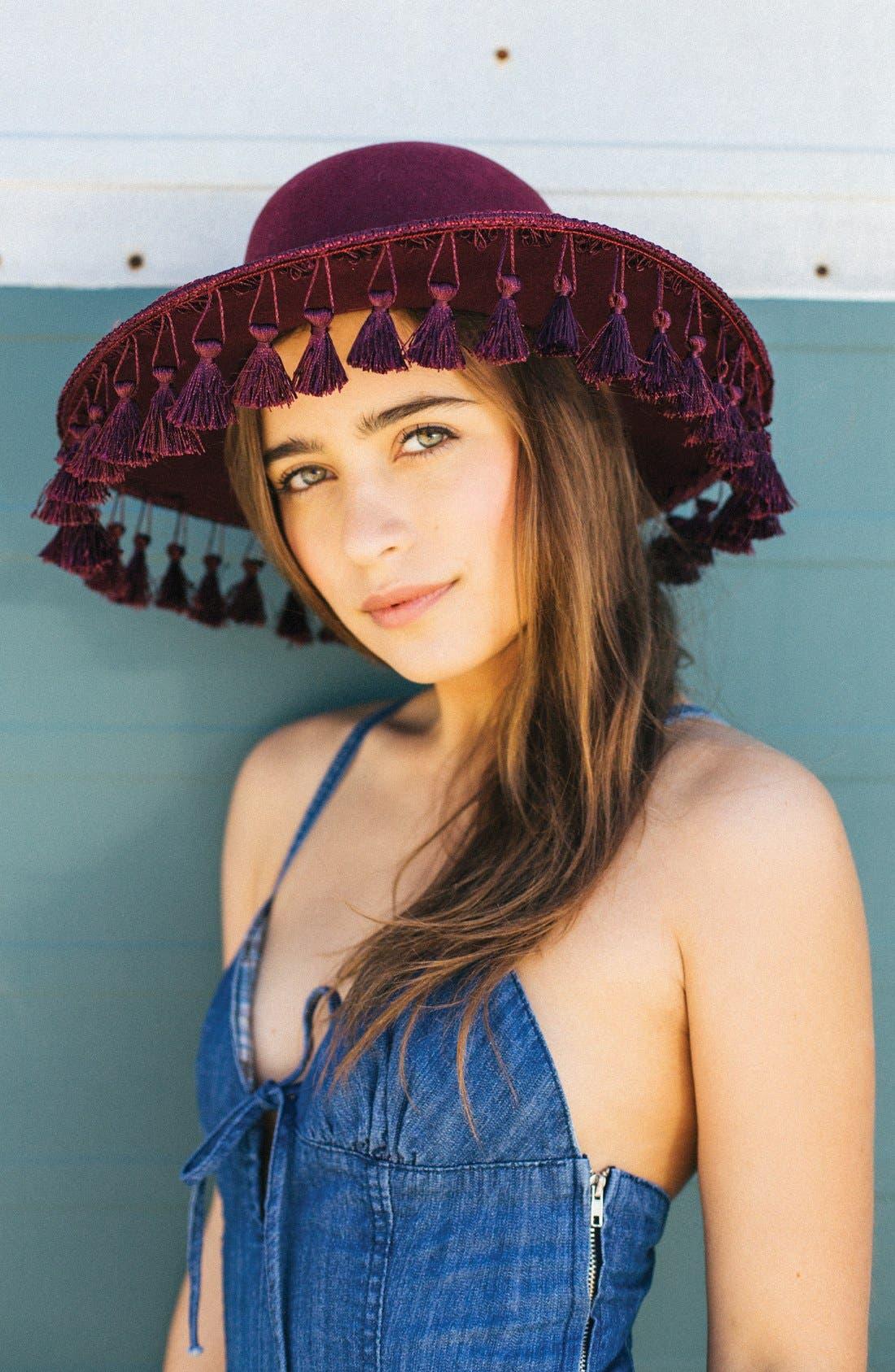 ,                             'Sophia' Tassel Brim Hat,                             Alternate thumbnail 3, color,                             930