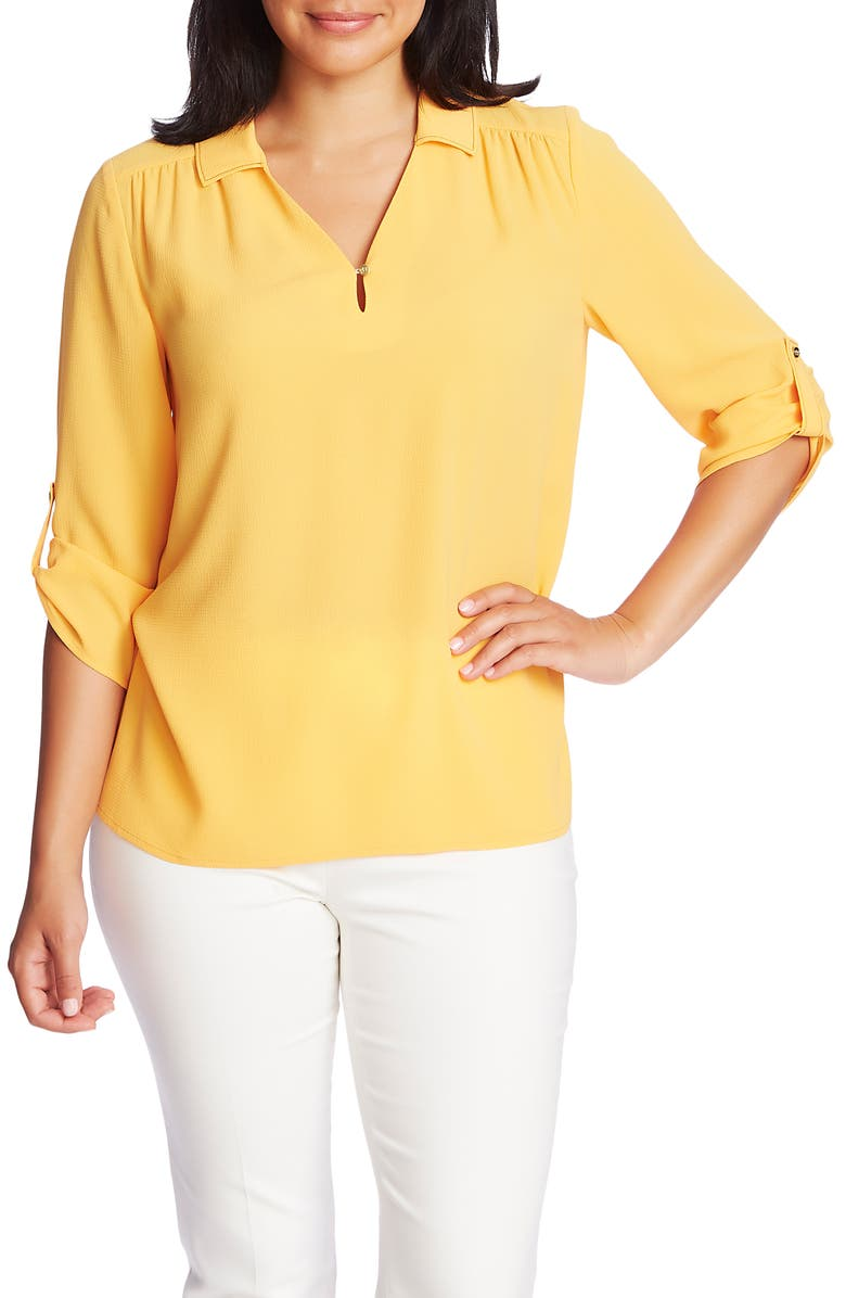 CHAUS Topstitch Detail Roll Tab Sleeve Blouse, Main, color, 709