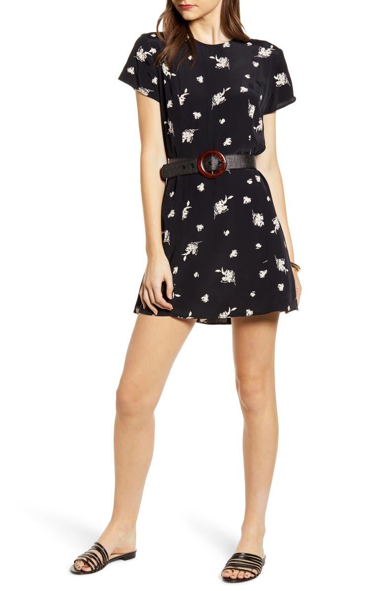 SOMETHING NAVY Easy Flirty Minidress, Main, color, 001