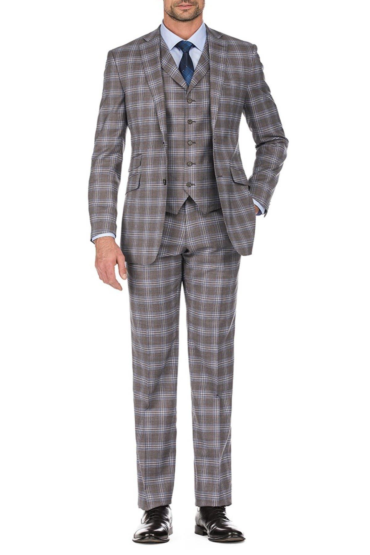 Image of English Laundry Brown Plaid Two Button Notch Lapel Slim Fit Vest Suit