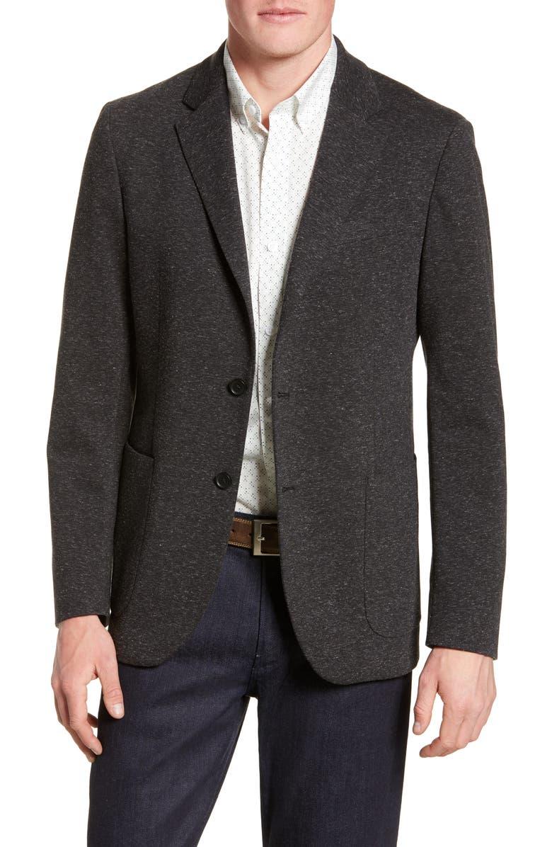 NORDSTROM MEN'S SHOP Trim Fit Essential Knit Blazer, Main, color, BLACK CAVIAR SPACEDYE