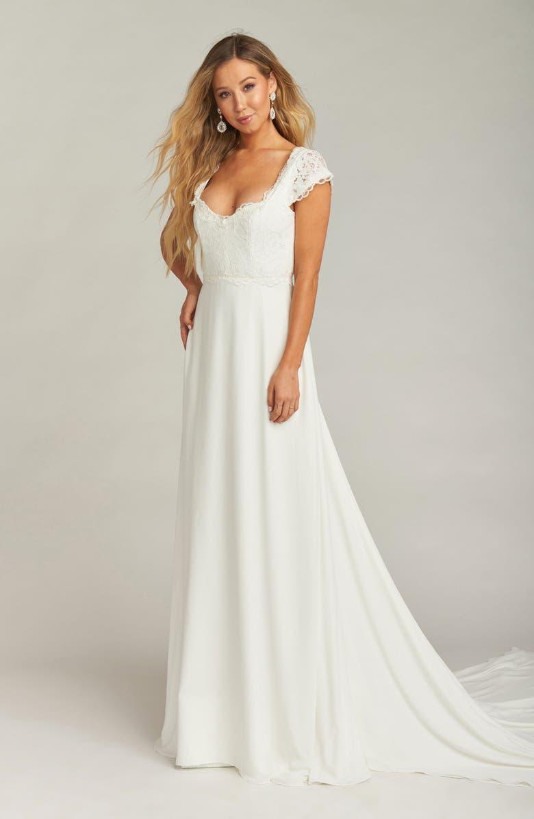 SHOW ME YOUR MUMU Chantel Lace Bodice Cap Sleeve Wedding Dress, Main, color, WHITE