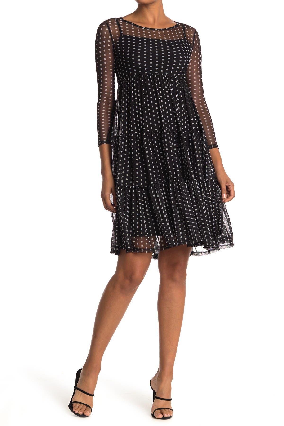 Image of Velvet Torch Tiered Mesh Knee Length Dress