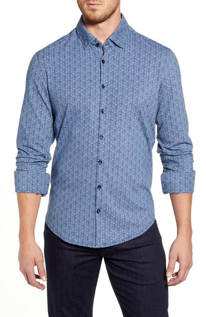 Image of Stone Rose Geo Print Regular Fit Knit Shirt